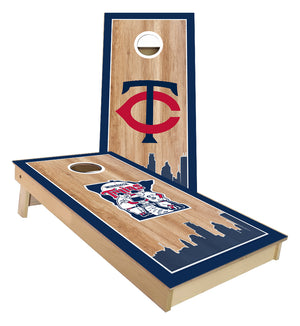 Minnesota Twins Baseball with Twin city Skyline Cornhole Boards