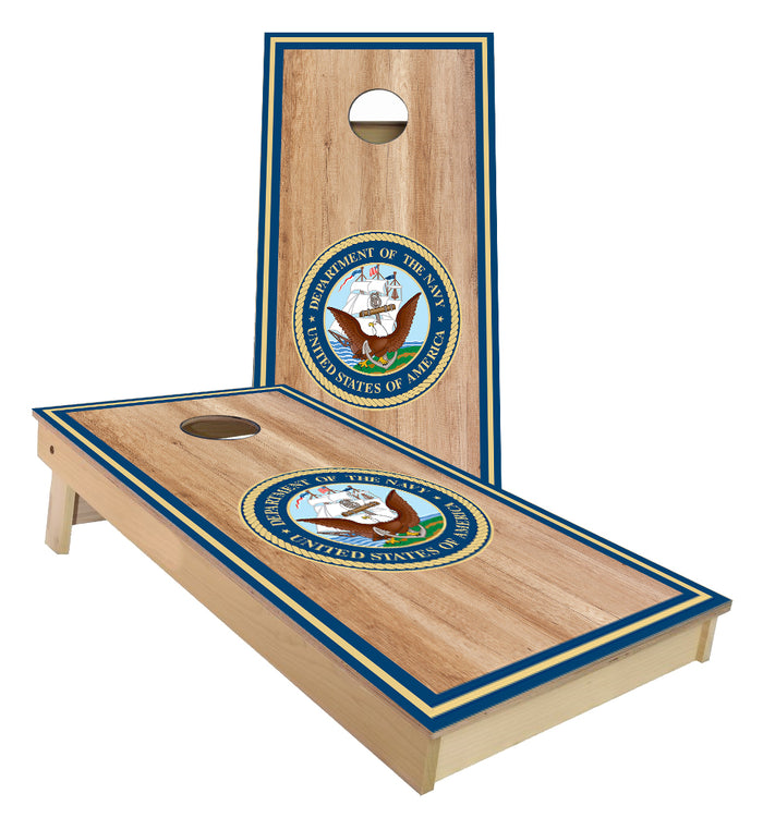United States Navy with outer boarder stripes Cornhole Boards