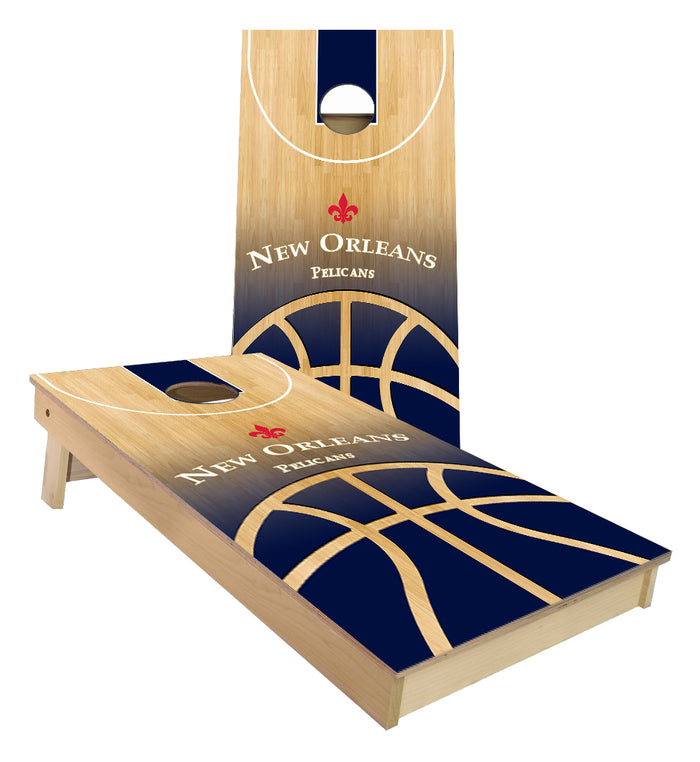 New Orleans Pelicans Basketball Court Cornhole Boards