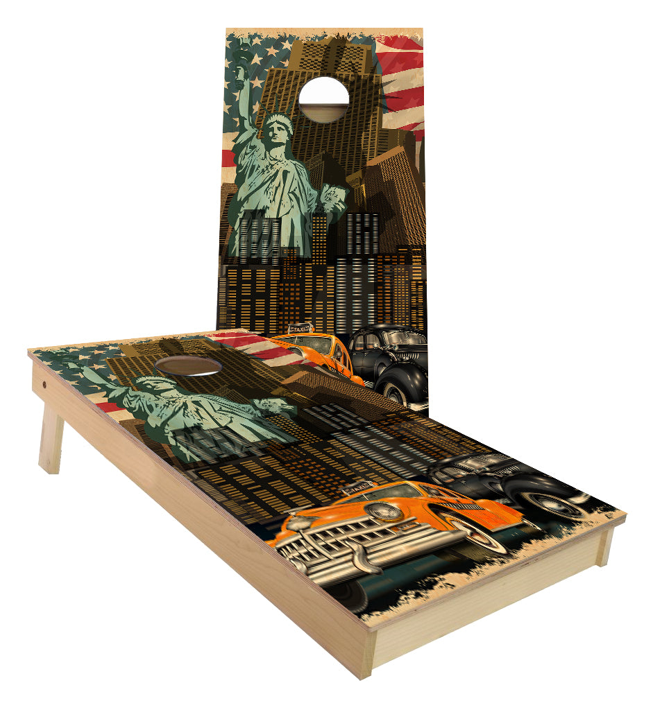 New York City Statue of Liberty Cab America theme cornhole boards