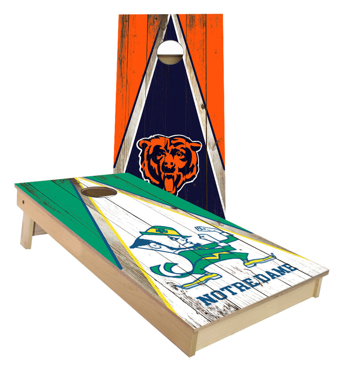 Notre Dame and Chicago Bears Cornhole Boards