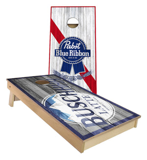 Buschhhh Latte and PBR rustic wood look Cornhole Boards
