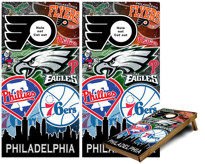 Philadelphia Sports Teams Cornhole Wraps