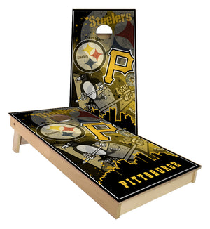 Pittsburgh Steelers Pirates Penguins City Skyline Cornhole Boards