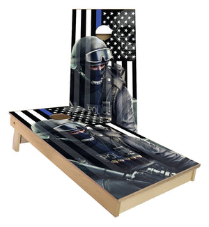 Police 6 Blue Line cornhole boards