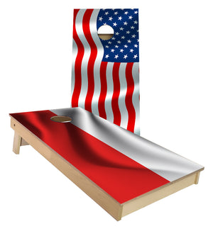 American Flag and Polish Flag Cornhole Boards