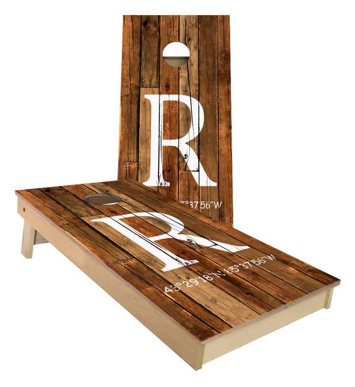 R Initial with Hardy Dam coordinates cornhole boards