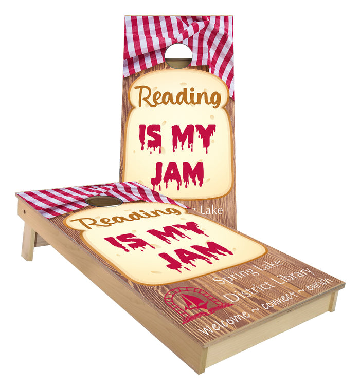 Reading is my Jam Library custom Cornhole Boards