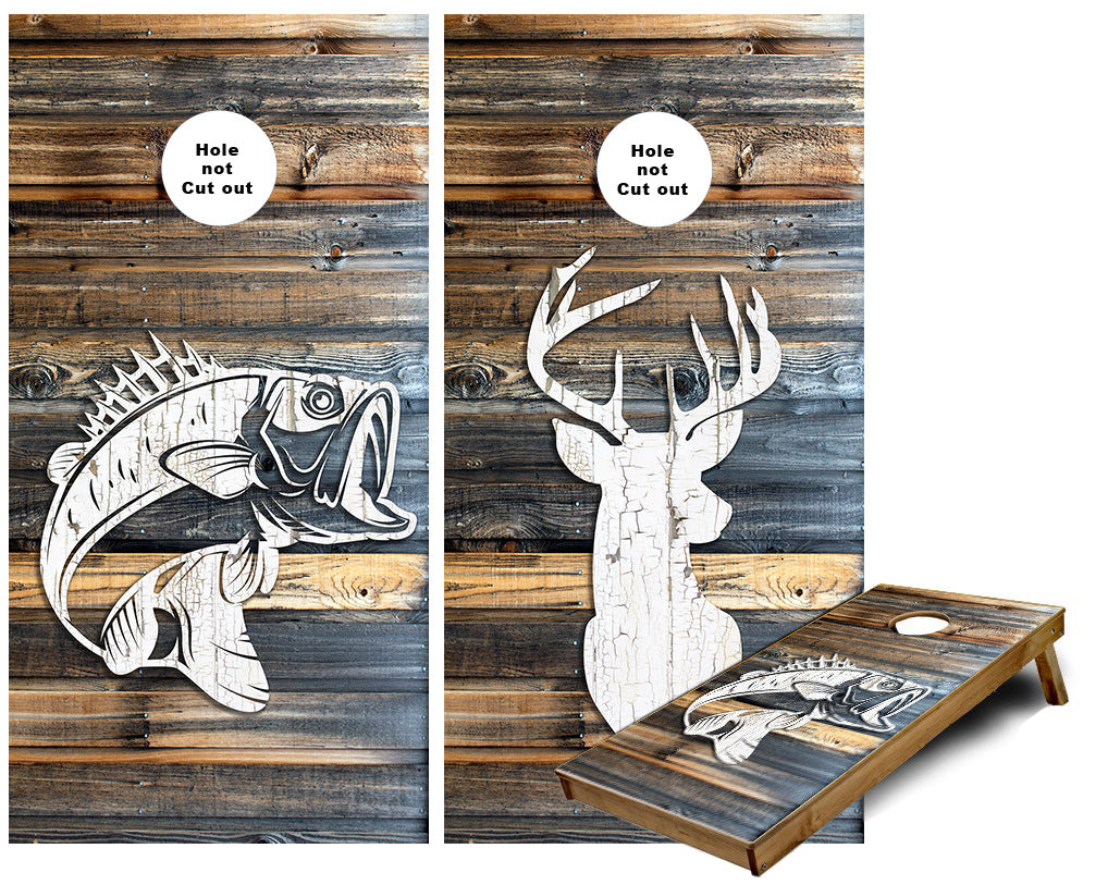 Rustic Deer and Fish Wood Plank Cornhole Wraps