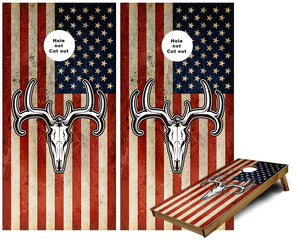 Rustic US Flag with Deer Skull Cornhole Wraps