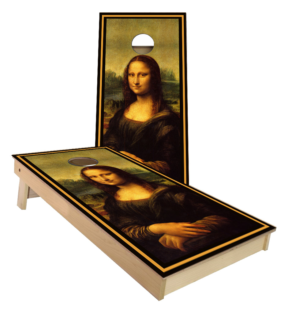 Mona Lisa Painting design cornhole boards