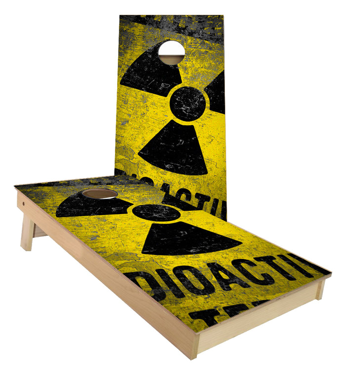 Radio Active Warning cornhole boards