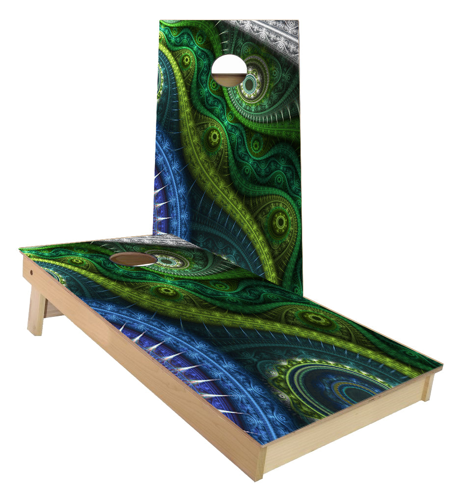 Blue Green Eye design cornhole boards