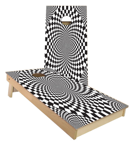 Black and White Illusion Cornhole Boards