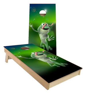 Frog Flying with tounge out cornhole boards