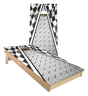 Racing Flag with metal plate design cornhole boards