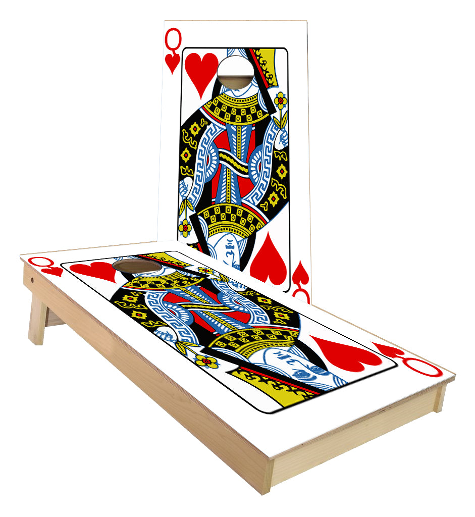 Queen of Hearts Card cornhole boards