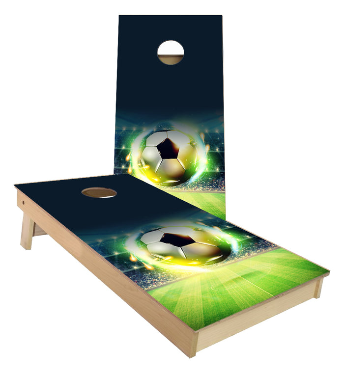 Soccer Ball on Field Cornhole Boards