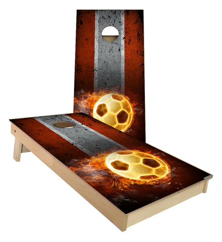 Flaming Soccer Ball traditional stripes Cornhole Boards