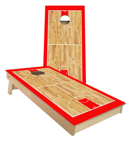 Red Basketball Court Cornhole Boards