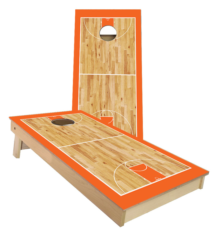 Orange Basketball Court Cornhole Boards