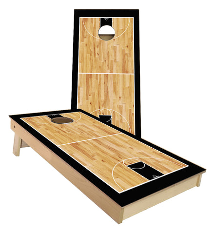 Black Basketball Court Cornhole Boards