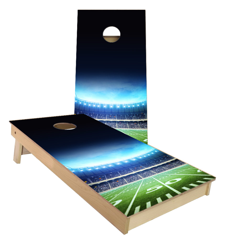Lighted Football Field Cornhole Boards
