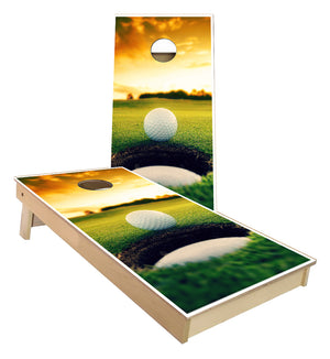 Golf ball on the Edge of the Hole Cornhole Boards