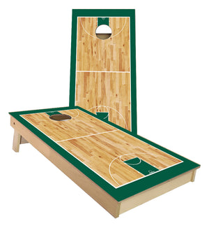 Green Basketball Court Cornhole Boards