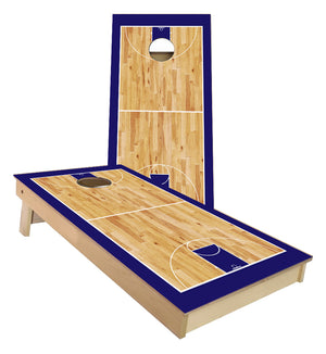 Navy Blue Basketball Court Cornhole Boards