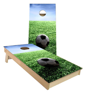 Soccer Ball on Grass Cornhole Boards