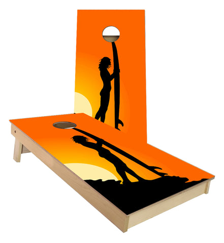 Surfer Girl Sunset Surfboard Cornhole Boards