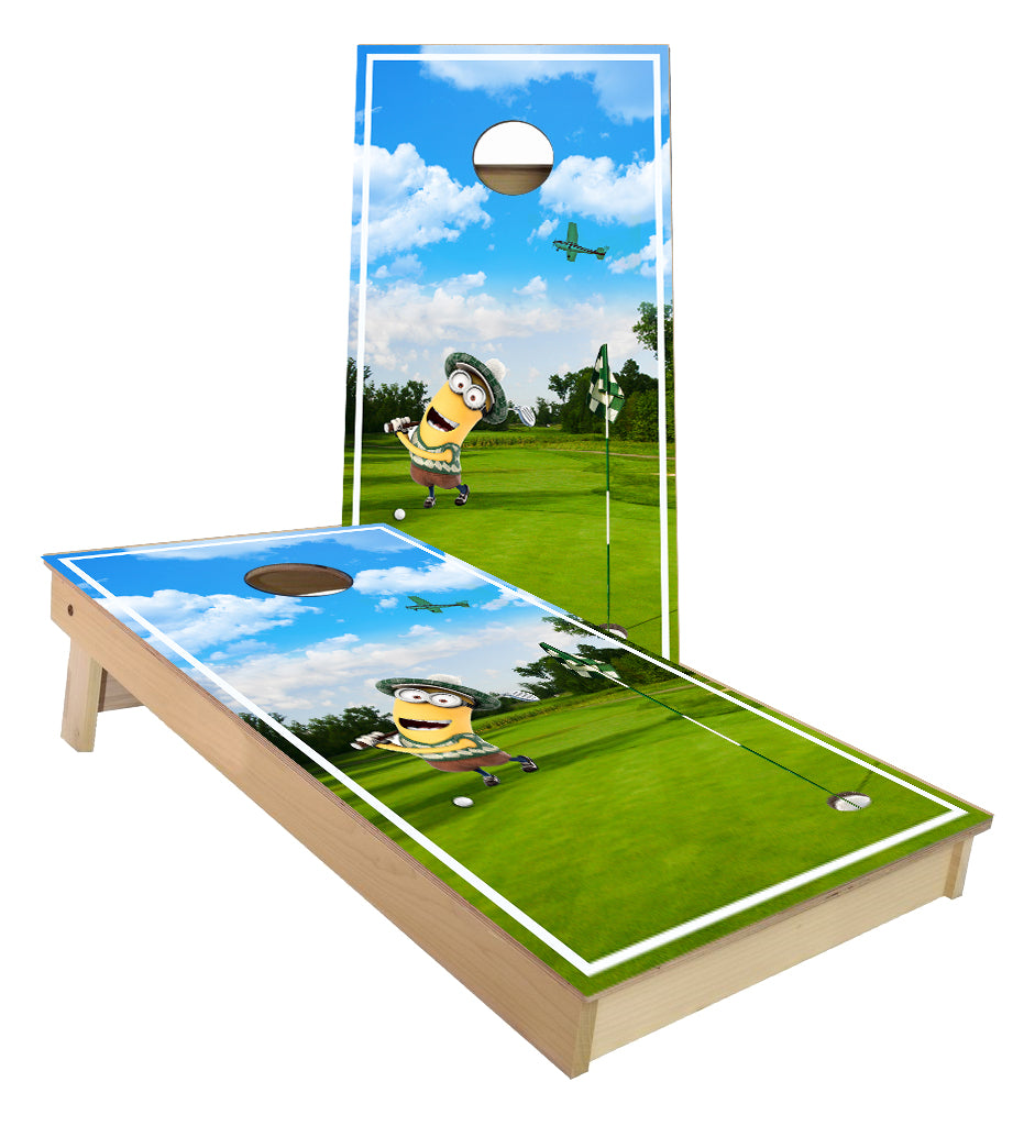Minion Golfing Cornhole Boards