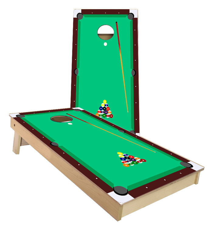 Pool Table Balls racked Cornhole Boards