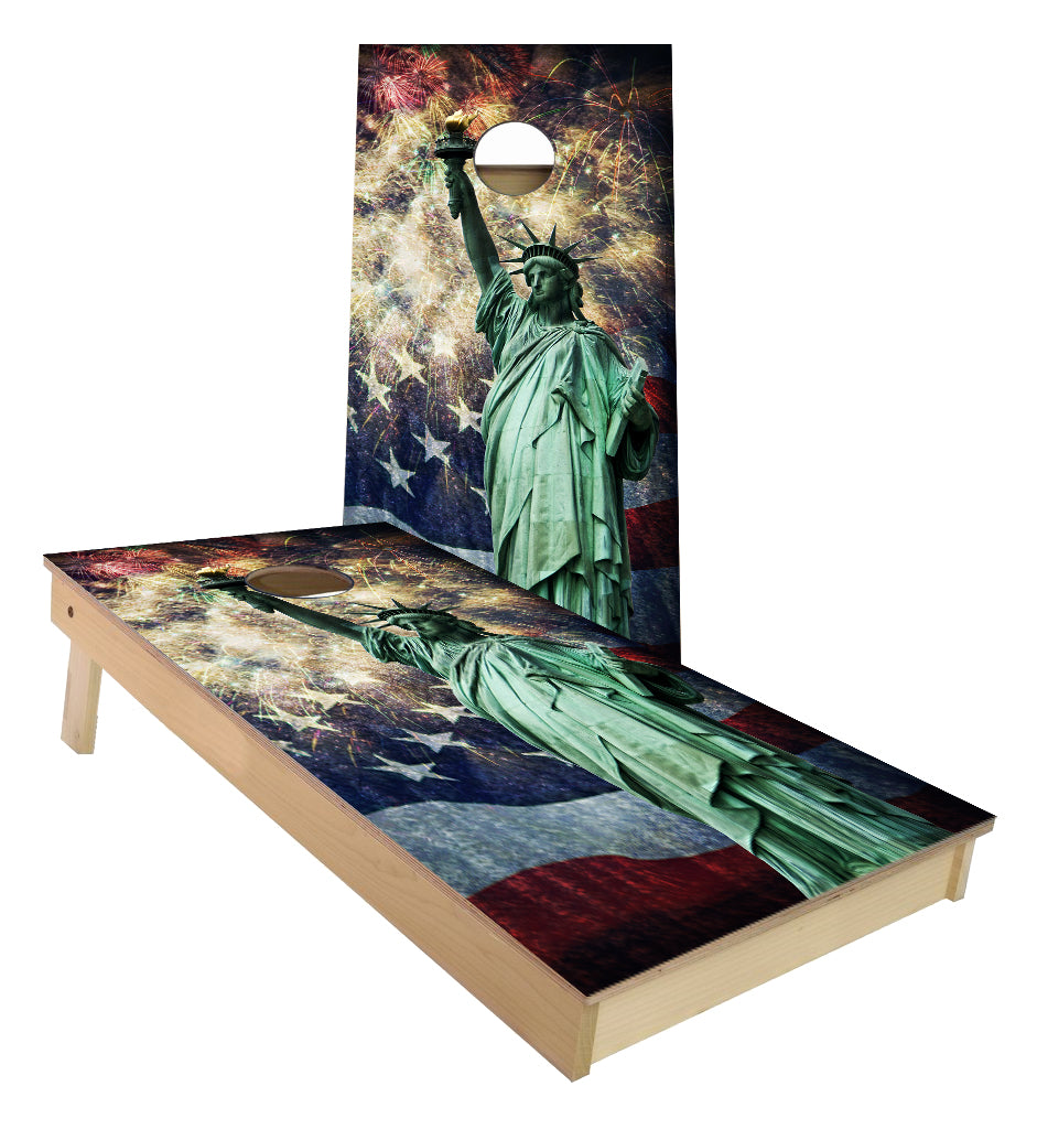 New York City Statue of Liberty Fireworks USA Flag cornhole boards