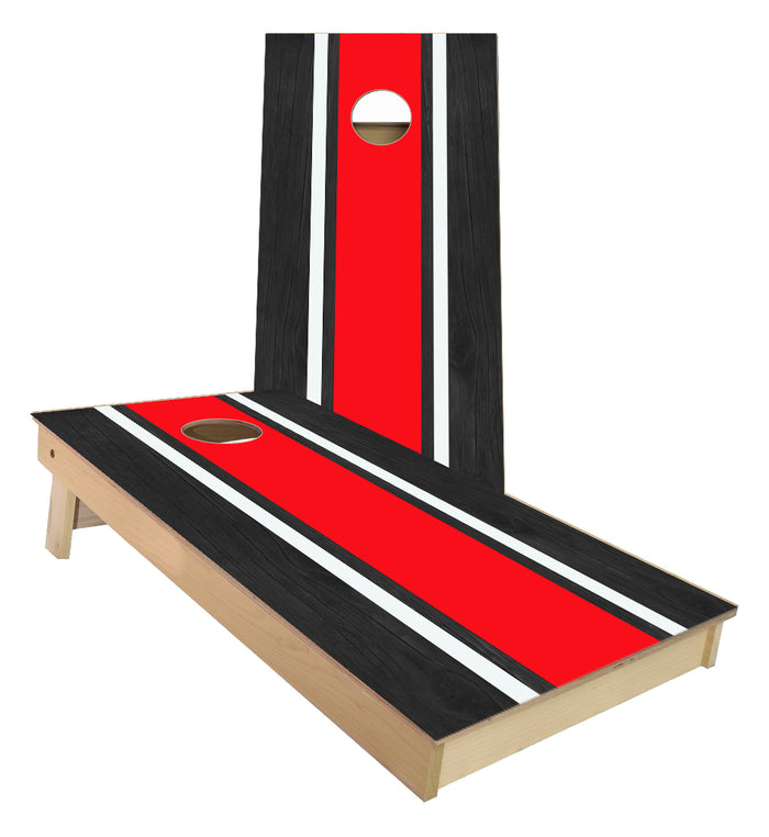 Red and White Striped traditional style Cornhole Boards