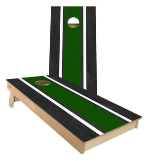 Green and White Striped traditional style Cornhole Boards