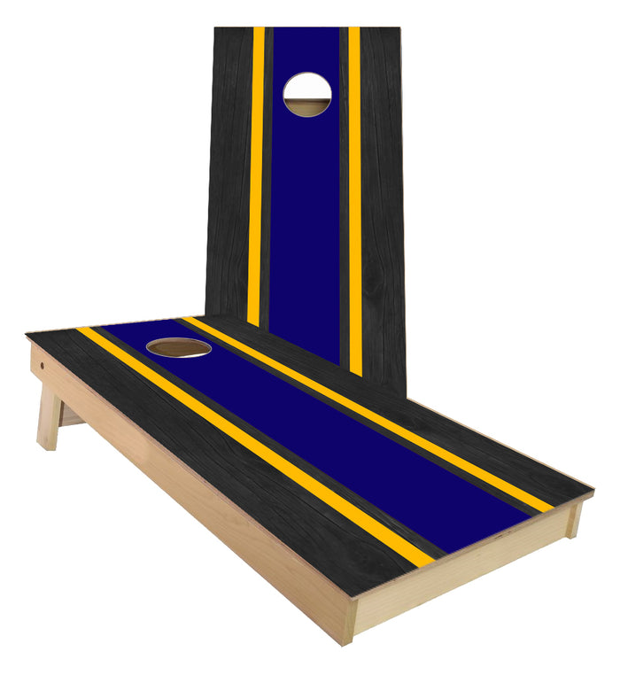 Navy and Yellow Striped traditional style Cornhole Boards