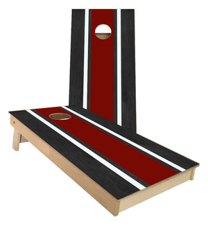 Burgundy and White Striped traditional style Cornhole Boards