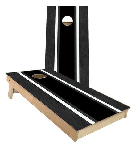 Black and White Striped traditional style Cornhole Boards