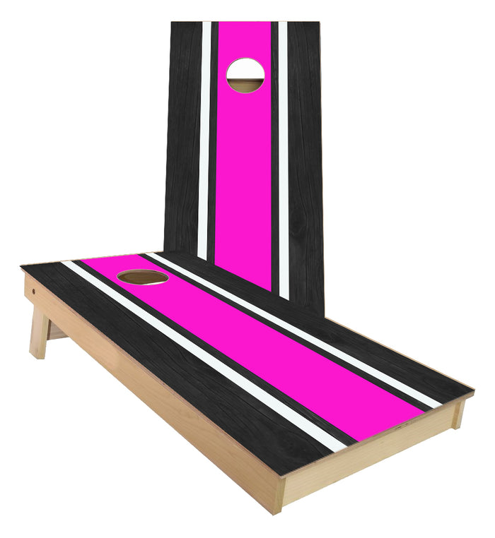 Pink and White Striped traditional style Cornhole Boards