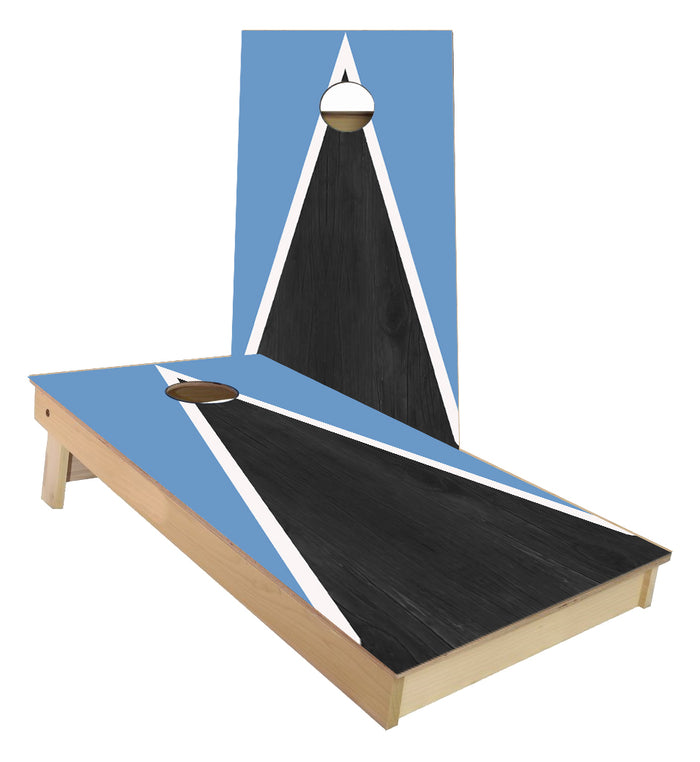 Light blue and White Striped traditional Triangle style Cornhole Boards