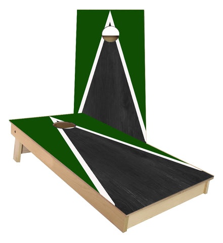 Green and White Striped traditional Triangle style Cornhole Boards