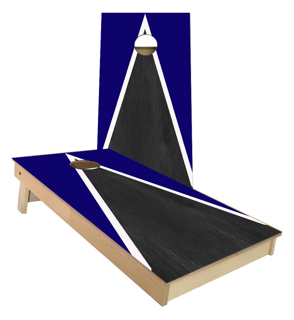 Blue and White Striped traditional Triangle style Cornhole Boards