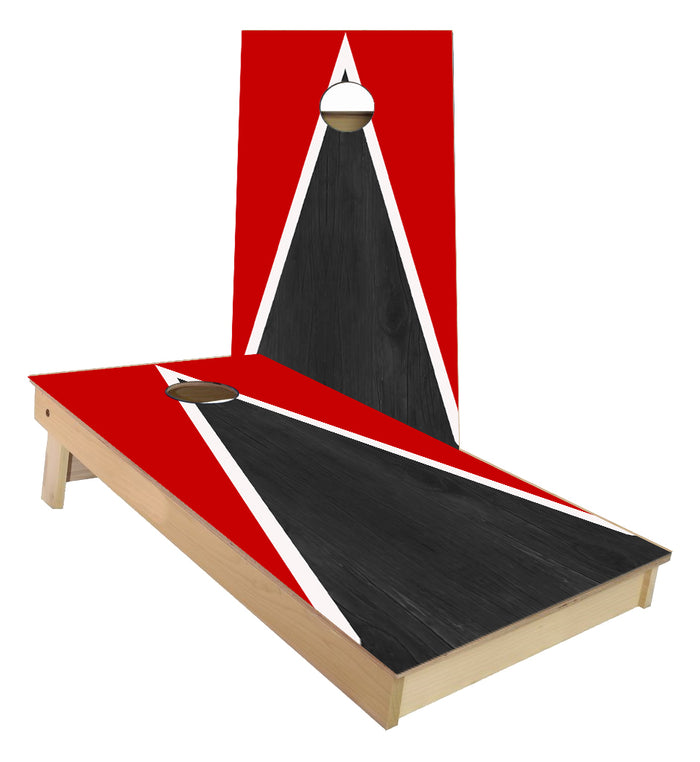 Red and White Striped traditional Triangle style Cornhole Boards