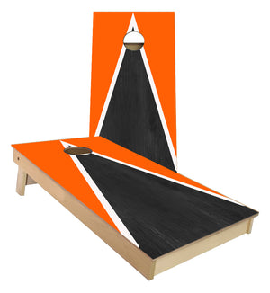 Orange and White Striped traditional Triangle style Cornhole Boards
