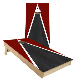 Burgundy and White Striped traditional Triangle style Cornhole Boards