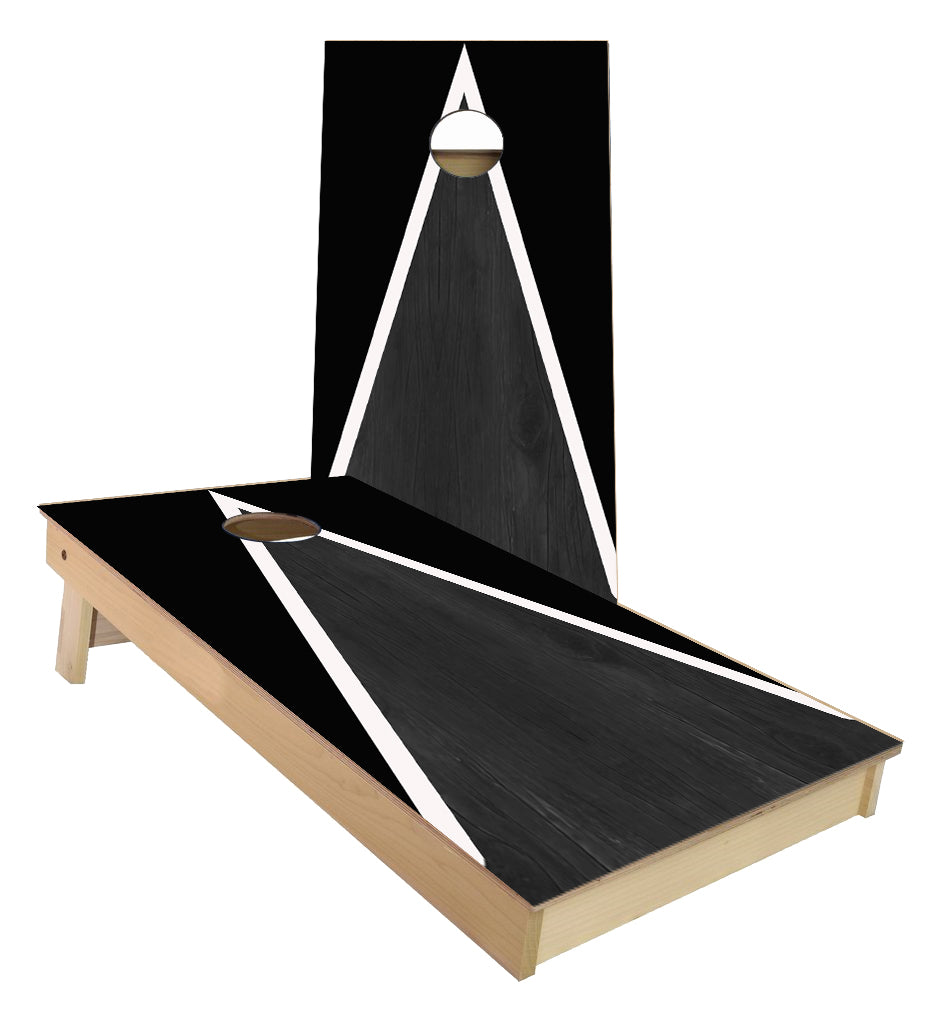 Black and White Striped traditional Triangle style Cornhole Boards