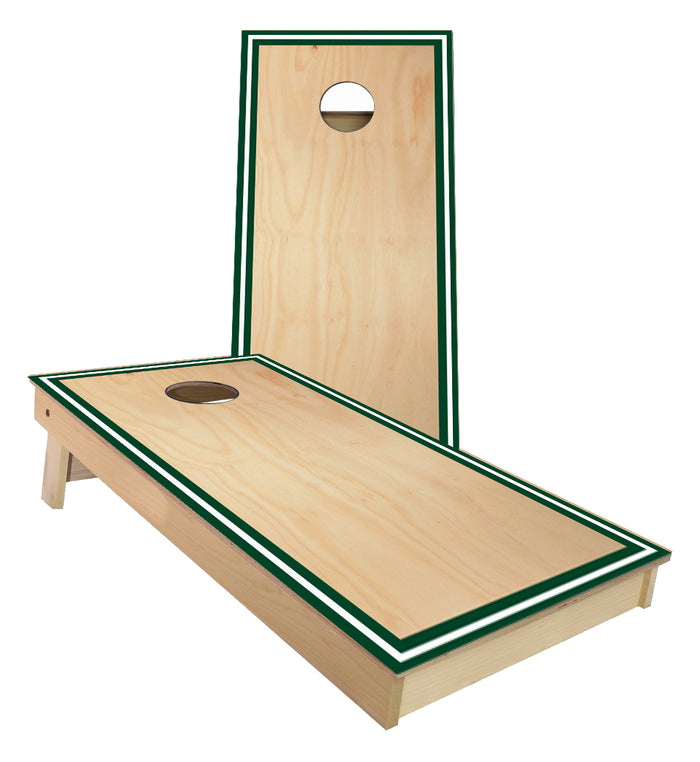 Traditional Sports Stripes Green and White Cornhole Boards