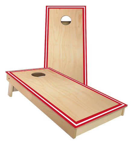 Traditional Sports Stripes Red and White Cornhole Boards